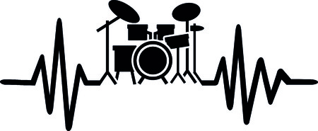 Heartbeat pulse line drummer with drums Stock Illustratie