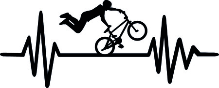 Heartbeat pulse line with BMX stuntman and word
