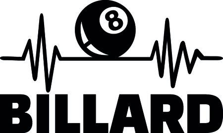 Heartbeat pulse line with billiards ball Ilustração