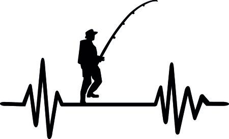 Heartbeat pulse line fishing word and crossed fishhooks