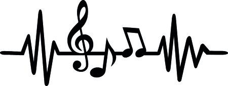음표 및 음자리표가있는 하트 비트 펄스 라인 음악