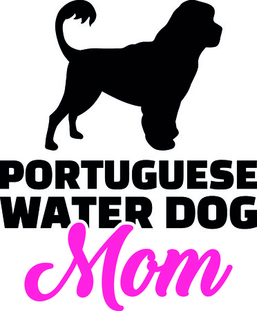 Portuguese water dog mom silhouette with pink word. Vector Illustration