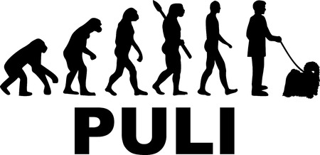 Puli evolution word with silhouettes