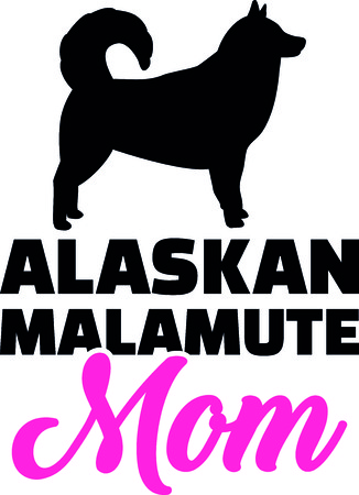 Alaskan malamute mom silhouette with pink word.