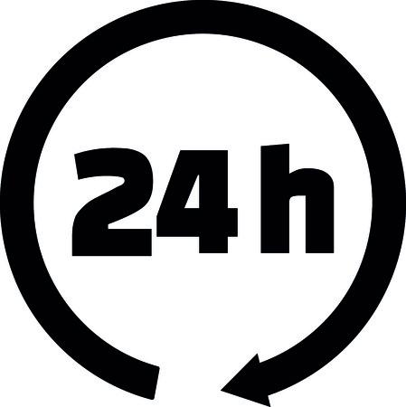 24 hours icon with black arrow vector illustration. Иллюстрация