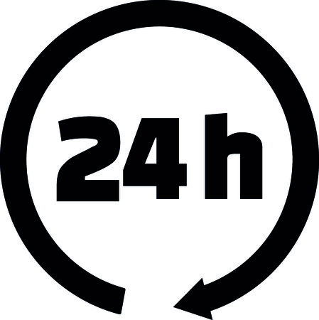 24 hours icon with black arrow vector illustration. Illustration