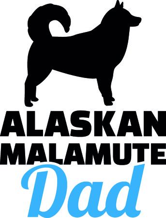 Alaskan malamute dad silhouette with blue word illustration.