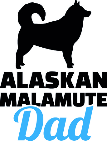 Alaskan malamute dad silhouette with blue word illustration. Illustration