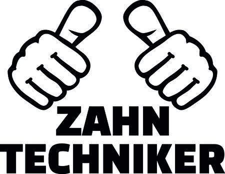 Male dental technician thumbs in German.