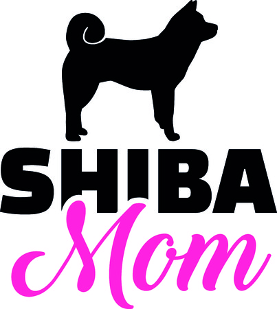 Shiba mom silhouette with pink word  イラスト・ベクター素材