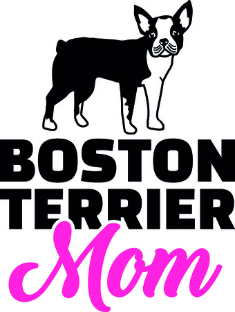 Boston terrier mom silhouette with pink word illustration.