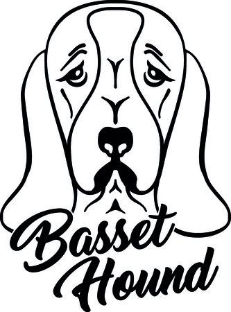 Basset hound head silhouette with hand-written word.
