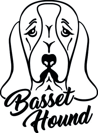 Basset hound head silhouette with hand-written word.