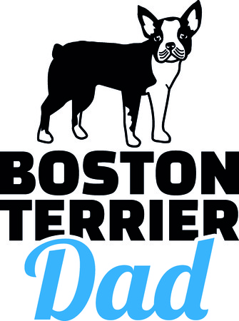 Boston terrier dad silhouette with blue word 矢量图像