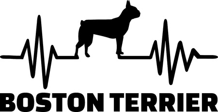 Heartbeat pulse line with boston terrier dog silhouette 일러스트
