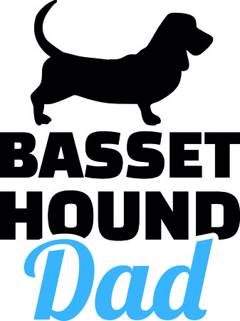 Basset hound dad silhouette with blue word illustration. 向量圖像