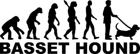 Basset hound evolution with word vector illustration.