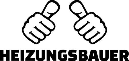 Heating constructor thumbs with German job title. Stock Illustratie
