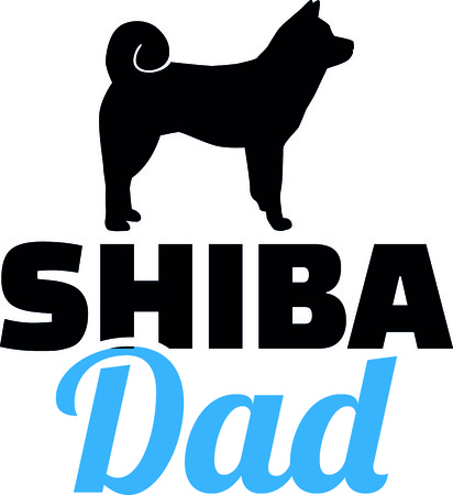 Shiba dad silhouette with blue word illustration.  イラスト・ベクター素材