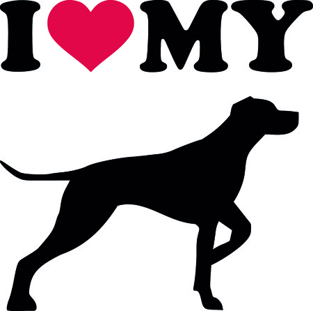 I love my German short haired pointer with red heart and silhouette. Stock Illustratie