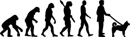 Shiba inu evolution with silhouettes illustration.