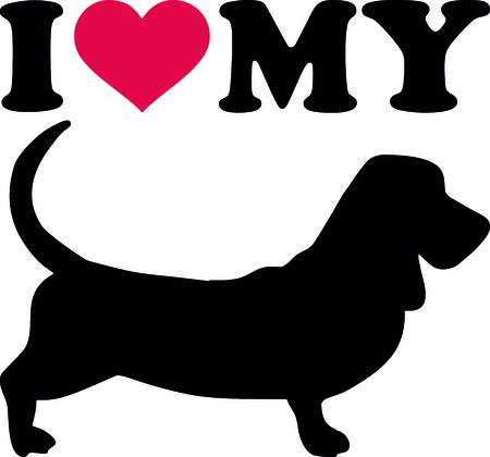 I love my Basset hound with red heart and silhouette.