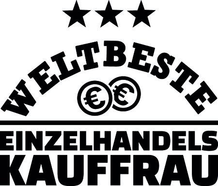 Worlds best retail saleswoman with dollar coins german Ilustração