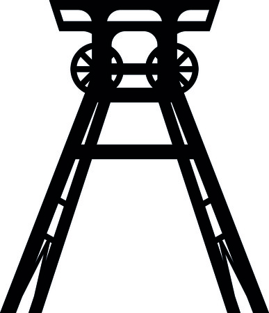 Colliery tower icon in black and white illustration.