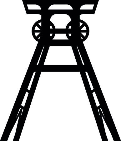 Ikona wieża kopalni czarno-białych ilustracji.
