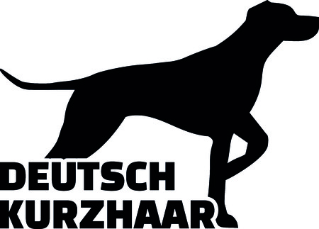 German short haired pointer silhouette with German word.