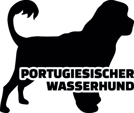 Portuguese water dog silhouette real with word
