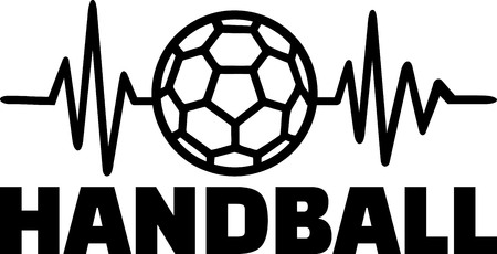 Heartbeat pulse line with handball and word illustration.
