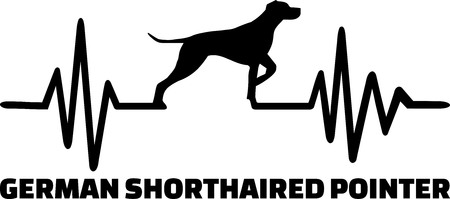 Heartbeat pulse line with German short haired pointer dog silhouette and word.