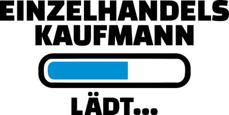Retail salesman loading bar in German illustration. 일러스트
