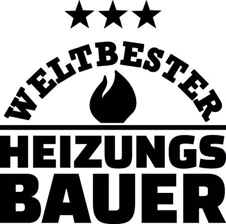 Worlds best heating constructor in German illustration.