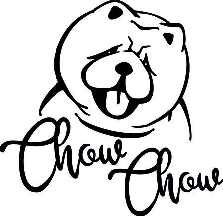 Chow-chow head silhouette with hand-written word. Illustration