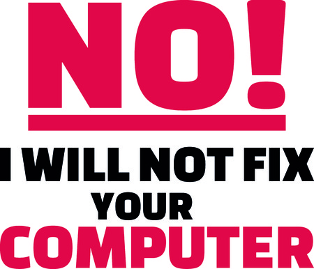 No I will not fix your computer slogan with highlighted red exclamation point. Ilustração