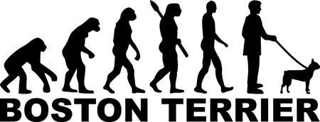 Boston terrier evolution with word illustration.