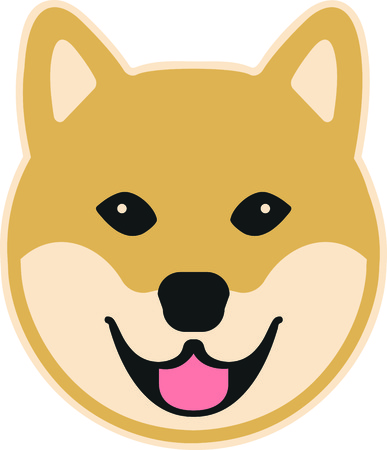 Shiba comic head smile colored vector illustration.  イラスト・ベクター素材