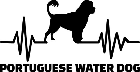 Heartbeat pulse line with Portuguese water dog silhouette