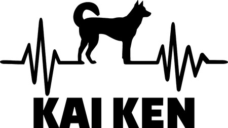 Heartbeat pulse line with kai ken dog silhouette.