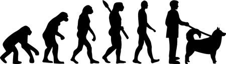 Alaskan malamute evolution with silhouette illustration. Illustration