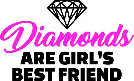 Diamonds are girls best friend slogan pink with diamond