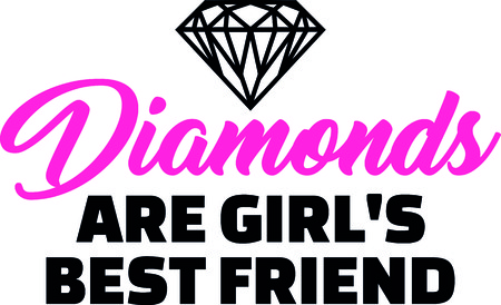 Diamonds are girls best friend slogan pink with diamond