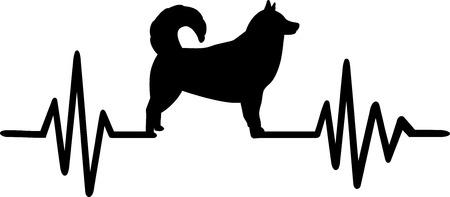 Heartbeat pulse line with Alaskan malamute dog silhouette