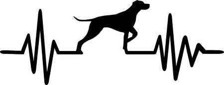 Heartbeat pulse line with german shorthaired pointer dog silhouette