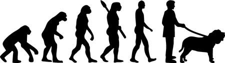 Neapolitan Mastiff evolution development with silhouette 일러스트