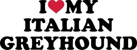 I love my Italian Greyhound with red heart Çizim