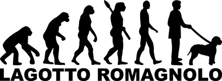 Lagotto Romagnolo evolution with word in black Illustration