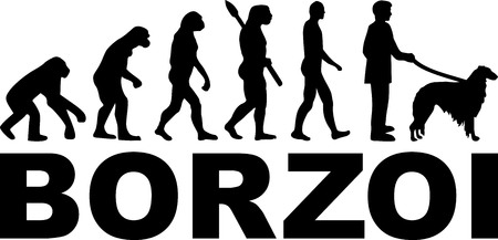 Borzoi evolution with word in black